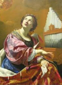 Santa Cecília, patrona dels músics (pintura de Simon Vouet, ca. 1626). Font: Viquipèdia