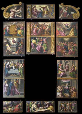 Exposició del retaule de la Mare de Déu del Roser d'Amer, de Joan Sanxes Galindo. Font: web del Museu d'Art de Girona