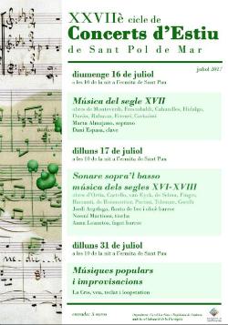XXVIIè Cicle de Concerts d'Estiu a Sant Pol de Mar