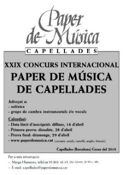 XXIXè Concurs Internacional Paper de Música de Capellades