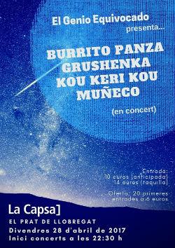 Actuació de Burrito Panza + Grushenka + Muñeco + Kou Keri Kou