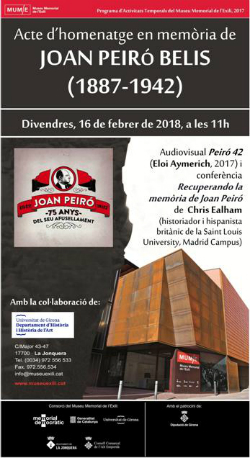 Acte d'homenatge a Joan Peiró Belis (1887-1942)