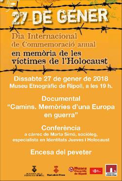 Commemoració a Ripoll del Dia Internacional en memòria de les víctimes de l'Holocaust