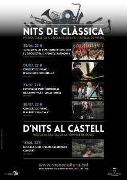 """Cicle """"Música i Patrimoni"""" a Roses (Nits de Clàssica i D'Nits al Castell). Font: web de l'Ajuntament de Roses"""