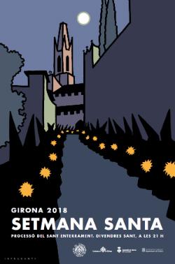 Cartell de la Setmana Santa gironina 2018. Els autors són el col.lectiu In Fraganti. Font: web de la Junta de Confraries de Girona